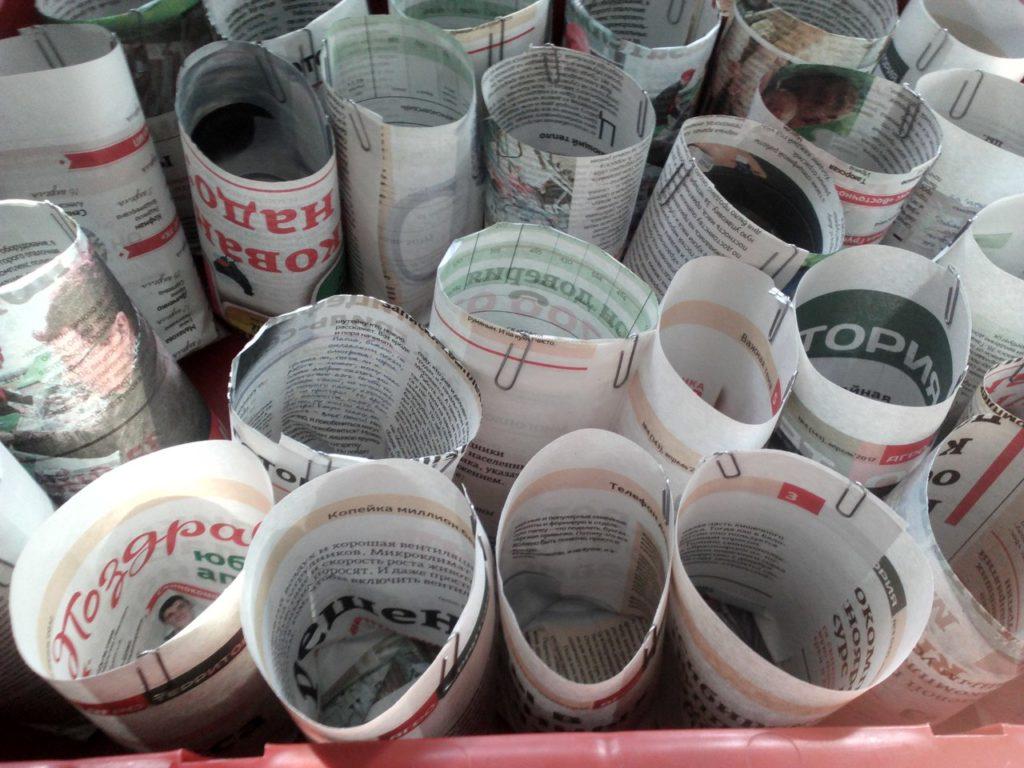 Самодельные стаканчики для рассады из газеты